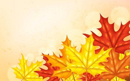background herfst: Herfst achtergrond met bladeren Stock Illustratie