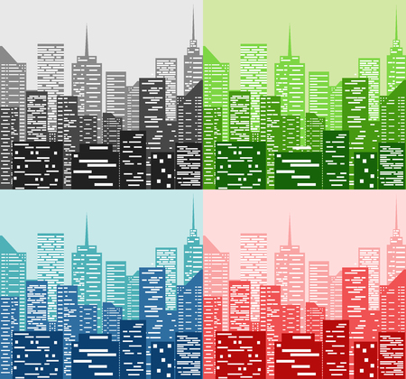 midtown: City skyline in four color Illustration