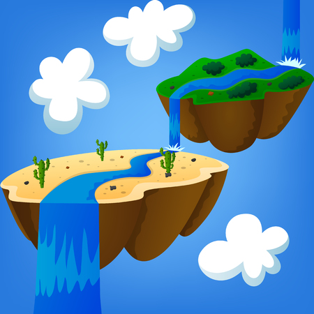 floating: desert island and mountainous island floating in the air Illustration
