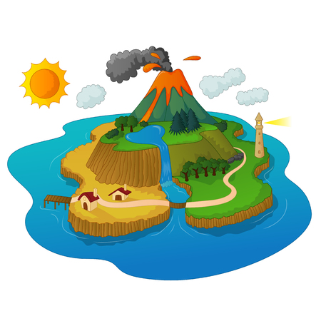 erupting: A beautiful island with volcanos erupting