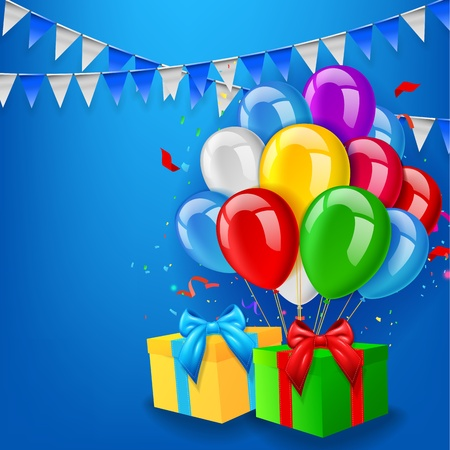 wish of happy holidays: Birthday background with balloons, gift and confetti Illustration