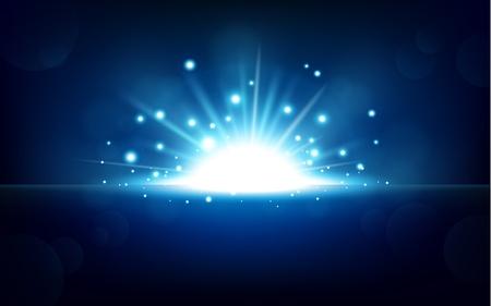 Helder blauw licht stijgen van de zwarte horizon Stock Illustratie