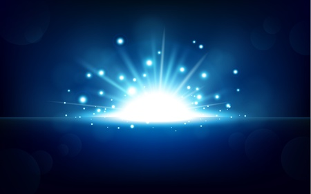 Luz azul brillante que sube del horizonte negro Ilustración de vector