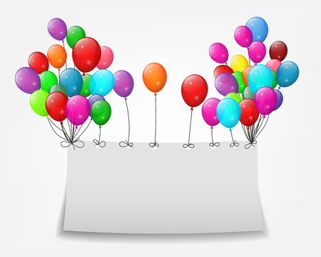 Flying balloons with paper and place for text