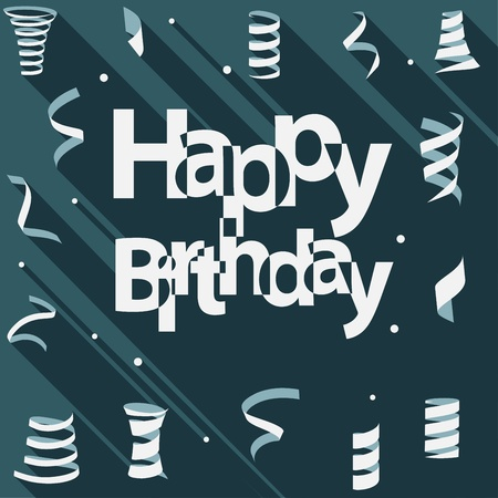 welcoming party: Happy Birthday text with ribbon and confetti flat design