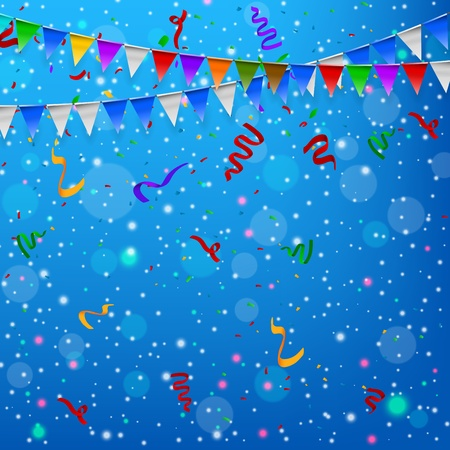 Happy Birthday party with triangle flags and confetti background