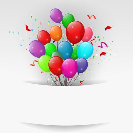 niños con pancarta: Globos con confeti, bandera del feliz cumpleaños