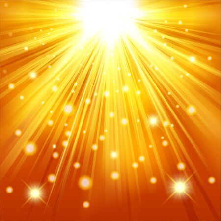 sun beam: Gold light shining with sparkles and glitter