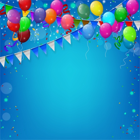 event party festive: Happy Birthday party with balloons and ribbons background