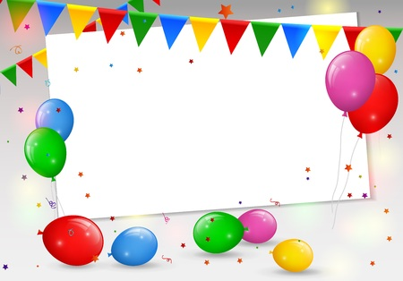 postcard background: Birthday card with colorful balloons