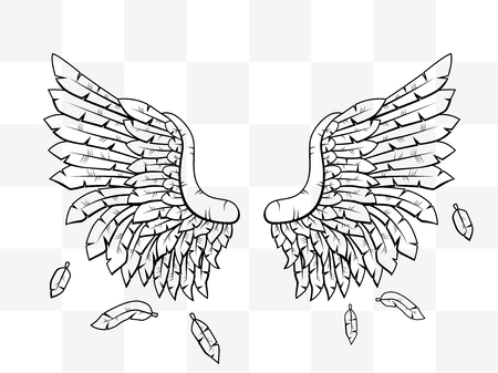 gothic angel: Heraldic wings cartoon transparent tattoo icon