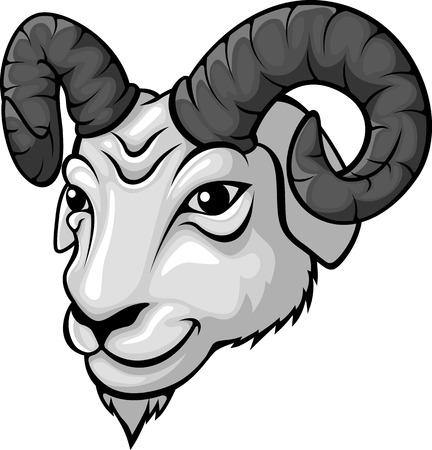 bighorn sheep: Ram head mascot illustration