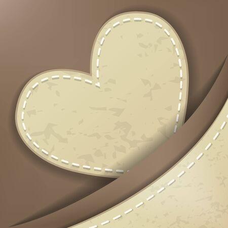 scrap: Heart shape stitched object illustration