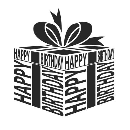 Regalo feliz cumpleaños texto alabeo Foto de archivo - 45500137