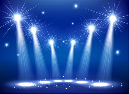 Spotlights on stage with smoke  light Illustration