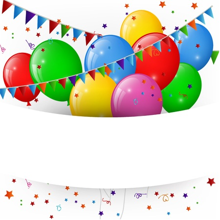 holiday party background: Balloons with confetti, happy birthday banner