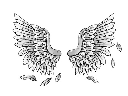 gothic angel: Grayscale Heraldic wings cartoon Illustration