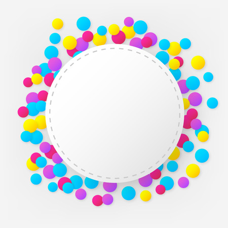stitched: Round stitched colorful celebration background with confetti