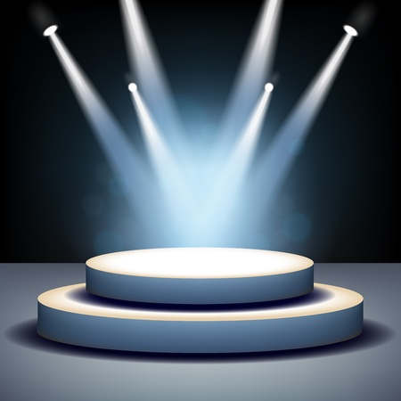 stage decoration abstract: Spotlight shining on empty stage Illustration