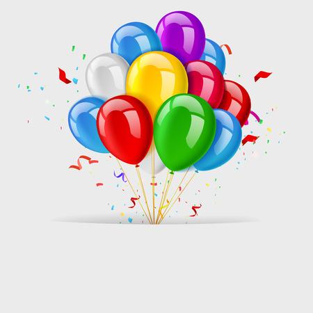 niños con pancarta: Globos tarjeta de felicitación, bandera del feliz cumpleaños