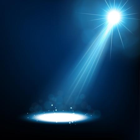 Blauwe spotlight schijnt