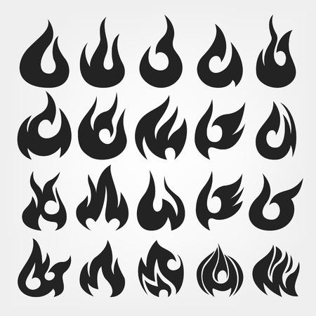 fuoco e fiamme: 20 Fire Flames icon set
