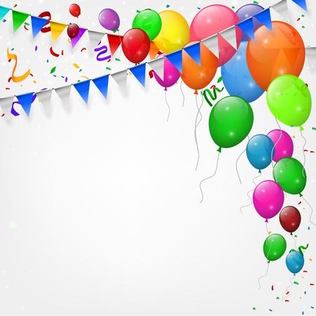Happy birthday party met ballonnen en linten achtergrond