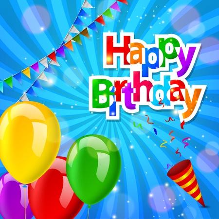 Alles Gute zum Geburtstag Grußkarte mit explodierenden Konfetti Popper Standard-Bild - 45500462