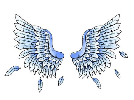 tatouage ange: Bleu h�raldique cartoon ailes Illustration