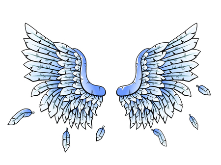 gothic angel: Blue Heraldic wings cartoon
