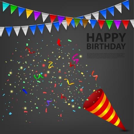 Exploderende Confetti Popper verjaardagsfeestje Stock Illustratie