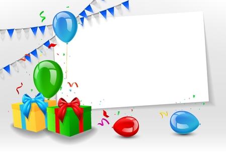 Geburtstagskarte mit bunten Luftballons Standard-Bild - 45500587