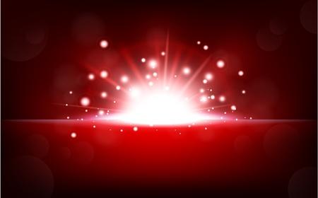 semaforo rosso: Bright red light rising from the black horizon Vettoriali