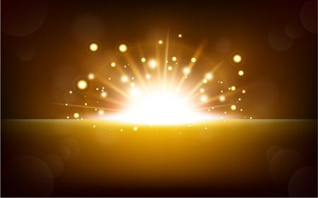 Fel geel licht stijgen van de zwarte horizon