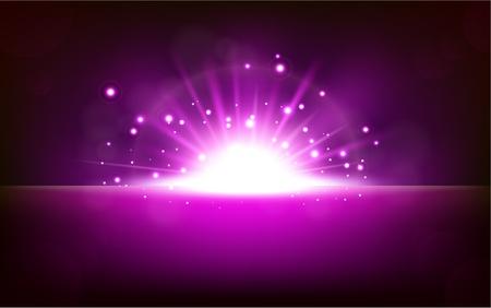 vector magic: Bright violet light rising from the black horizon