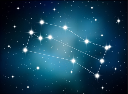 astrological: Horoscope zodiac sign of the gemini on the astrological space background Illustration