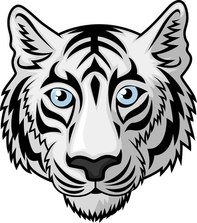 dominant: White tiger Head Mascot Team Sport cartoon