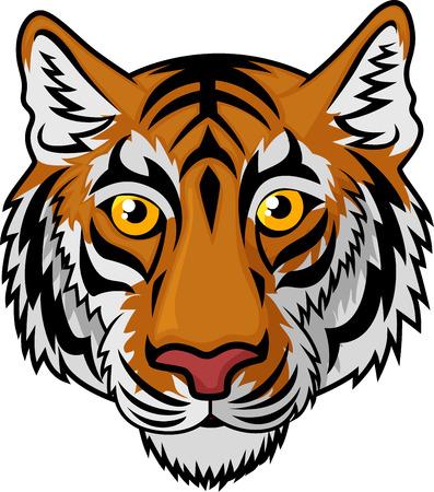 animales del zoologico: De dibujos animados tigre principal de la mascota del equipo Sport
