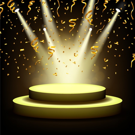 Spotlight Shining On Empty stage with Gold confetti