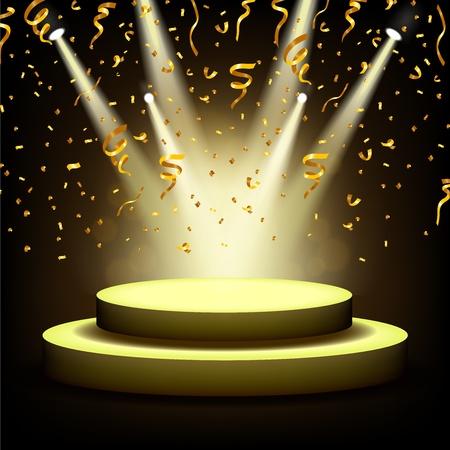Spotlight Shining On scène vide avec des confettis d'or Banque d'images - 47551578