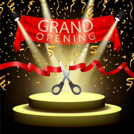 open: Grand opening background with spotlight and gold confetti on spotlight stage Illustration