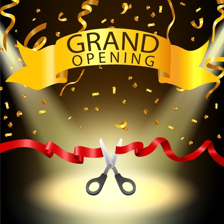 commemorate: Grand opening background with spotlight and gold confetti