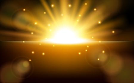 Zonsopgang met lens flare achtergrond Stock Illustratie