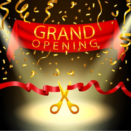 red  ribbon: Grand opening background with spotlight and gold confetti
