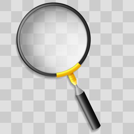 lupa: Lupa realista en cuadrícula de transparencia Vectores