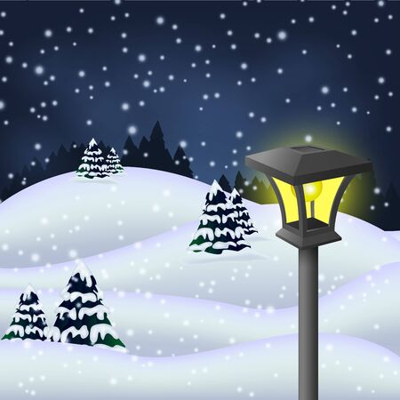 winter garden: Winter night in the park with garden lamp Illustration