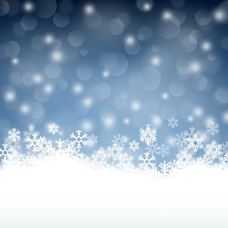 winter: Winter background with beautiful various snowflakes