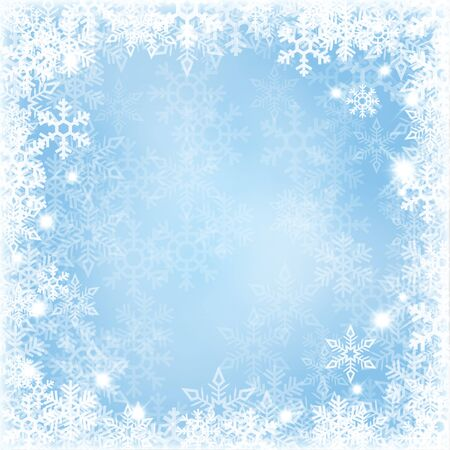 rime: Winter background with beautiful various snowflakes