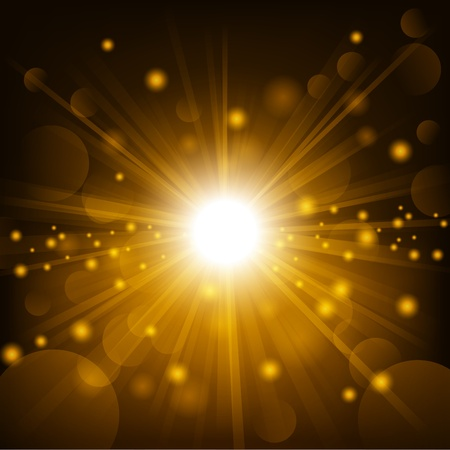 Gold shine with lens flare background Vectores