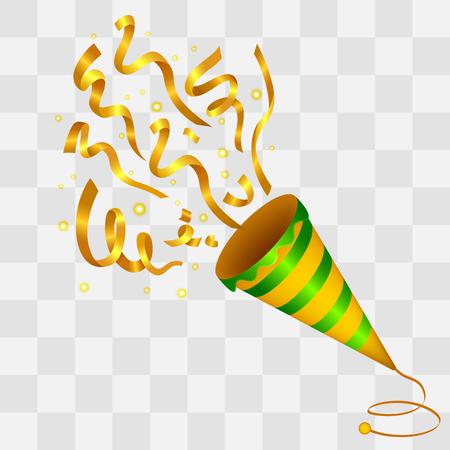 Exploderende Golden Confetti Popper op transparantie achtergrond